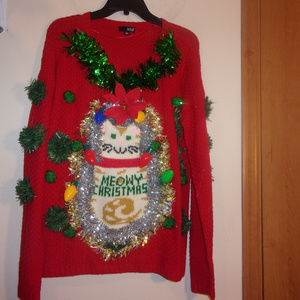 Cat's Meow Light Up Ugly Christmas Sweater XL